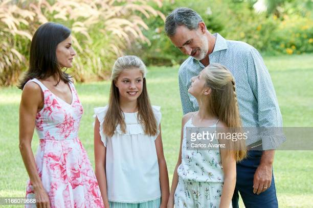 King Felipe VI of Spain, Queen Letizia of Spain, Princess Leonor of Spain and Princess Sofia of Spain pose for the photographers during the summer...