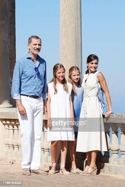 King Felipe VI of Spain, Queen Letizia of Spain, Princess Leonor of Spain and Princess Sofia of Spain visit 'Son Marroig' museum on August 08, 2019...