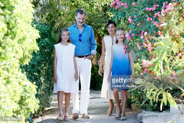 King Felipe VI of Spain Queen Letizia of Spain Princess Leonor of Spain and Princess Sofia of Spain visit 'Son Marroig' museum on August 08 2019 in...