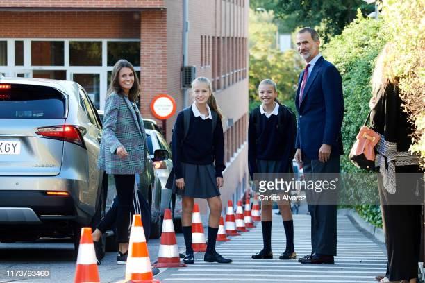 King Felipe VI of Spain, Queen Letizia of Spain, Princess Leonor of Spain and Princess Sofia of Spain arrive at the 'Santa Maria de los Rosales'...