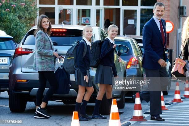 King Felipe VI of Spain Queen Letizia of Spain Princess Leonor of Spain and Princess Sofia of Spain arrive at the 'Santa Maria de los Rosales' School...