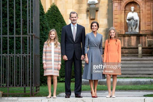 King Felipe VI of Spain, Queen Letizia of Spain, Princess Leonor of Spain and Princess Sofia of Spain arrive at Oviedo Cathedral ahead of the...