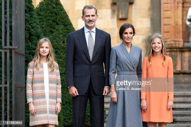 King Felipe VI of Spain Queen Letizia of Spain Princess Leonor of Spain and Princess Sofia of Spain arrive at Oviedo Cathedral ahead of the 'Princesa...
