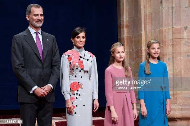 King Felipe VI of Spain, Queen Letizia of Spain, Princess Leonor of Spain and Princess Sofia of Spain attend several audiences to congratulate the...