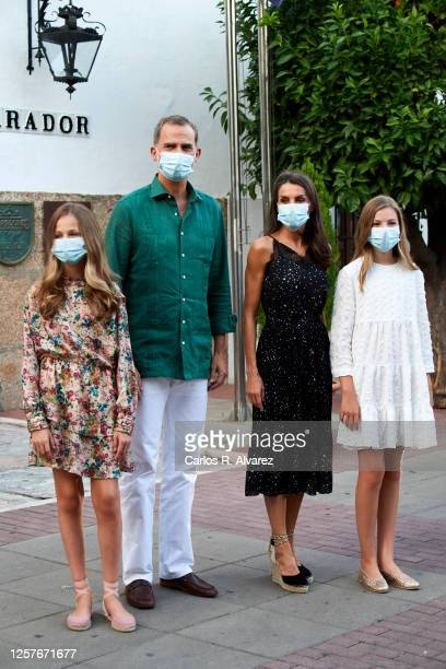 King Felipe VI of Spain, Queen Letizia of Spain, Princess Leonor of Spain and Princess Sofia of Spain arrive at the Parador of Merida on July 22,...