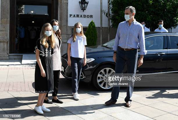 King Felipe VI of Spain, Queen Letizia of Spain, Princess Leonor of Spain and Princess Sofia of Spain are seen leaving for Madrid on July 23, 2020 in...
