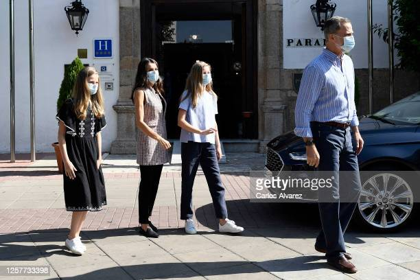 King Felipe VI of Spain Queen Letizia of Spain Princess Leonor of Spain and Princess Sofia of Spain are seen leaving for Madrid on July 23 2020 in...