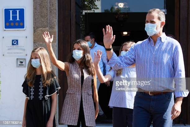 King Felipe VI of Spain, Queen Letizia of Spain, Princess Leonor of Spain and Princess Sofia of Spain are seen leaving from the Parador of Merida on...