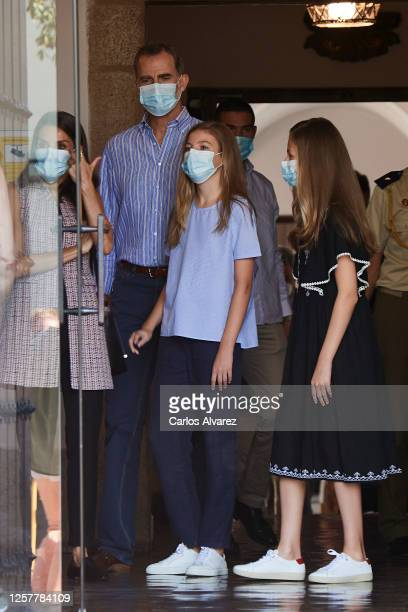 King Felipe VI of Spain Queen Letizia of Spain Princess Leonor of Spain and Princess Sofia of Spain are seen leaving from the Parador of Merida on...