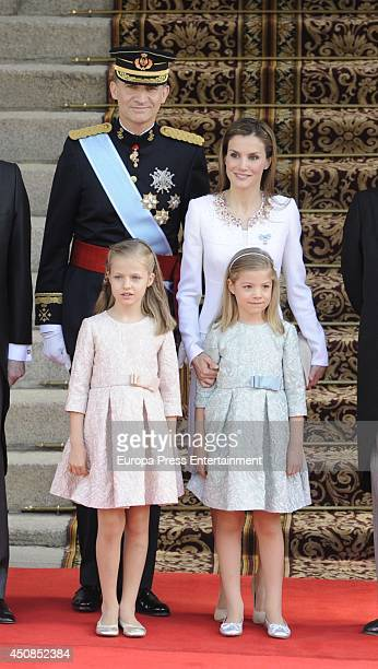 King Felipe VI of Spain Queen Letizia of Spain Princess Leonor Princess of Asturias and Princess Sofia arrive at Spanish Parliament for the King's...