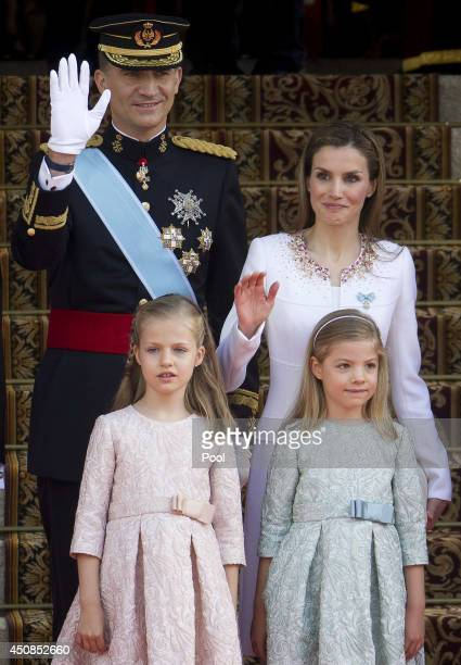 King Felipe VI of Spain Queen Letizia of Spain Princess Leonor Princess of Asturias and Princess Sofia arrive at the Carrera de San Jeronimo for the...