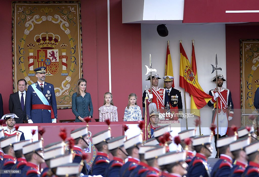 Spanish Royals Attend National Day Military Parade 2014 : News Photo