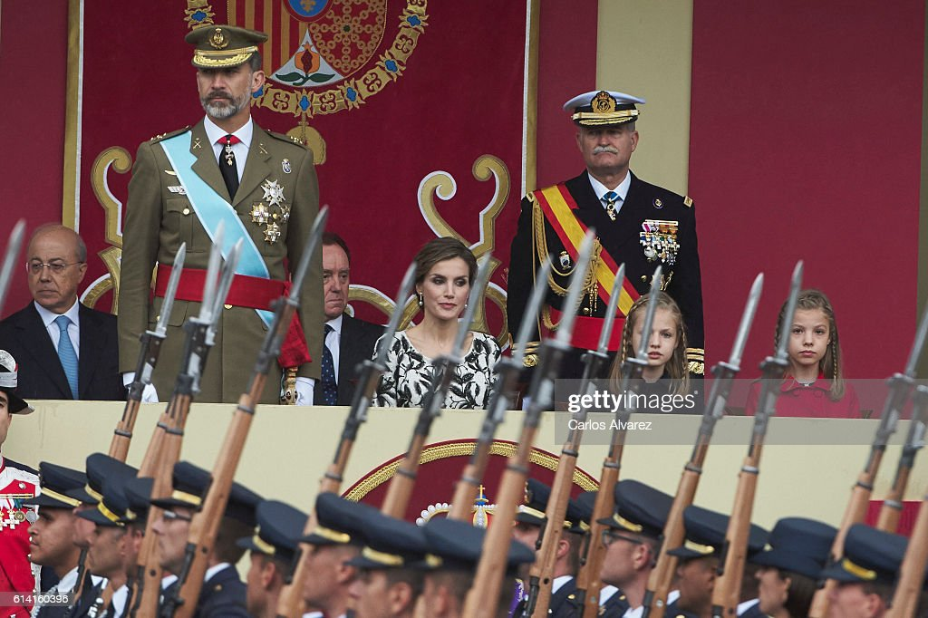 King Felipe VI of Spain, Queen Letizia of Spain, Princess Leonor of Spain and Princess Sofia of Spain attend the National Day military parade on October 12, 2016 in Madrid, Spain.