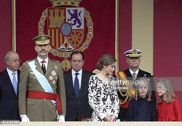 King Felipe VI of Spain Queen Letizia of Spain Princess Leonor of Spain and Princess Sofia of Spain attend the National Day military parade on...