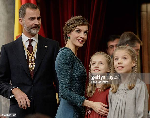 King Felipe VI of Spain, Queen Letizia of Spain, Princess Leonor of Spain and Princess Sofia of Spain attend the solemn opening of the twelfth...