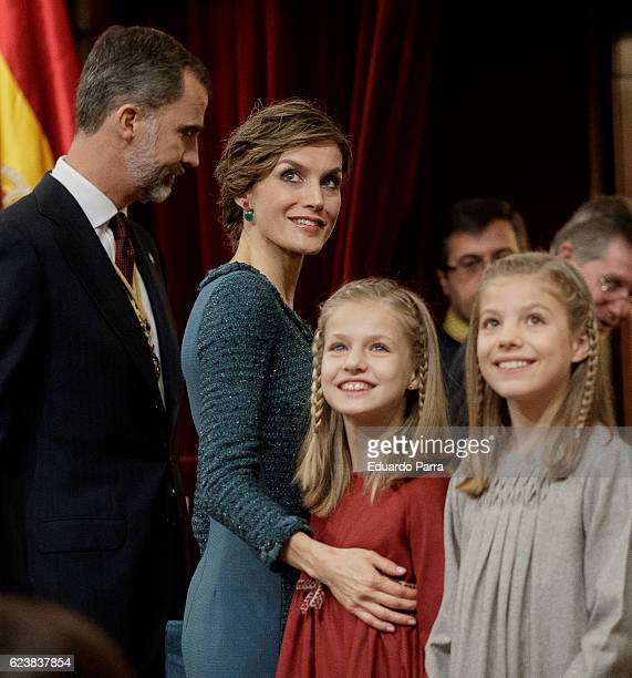 King Felipe VI of Spain Queen Letizia of Spain Princess Leonor of Spain and Princess Sofia of Spain attend the solemn opening of the twelfth...