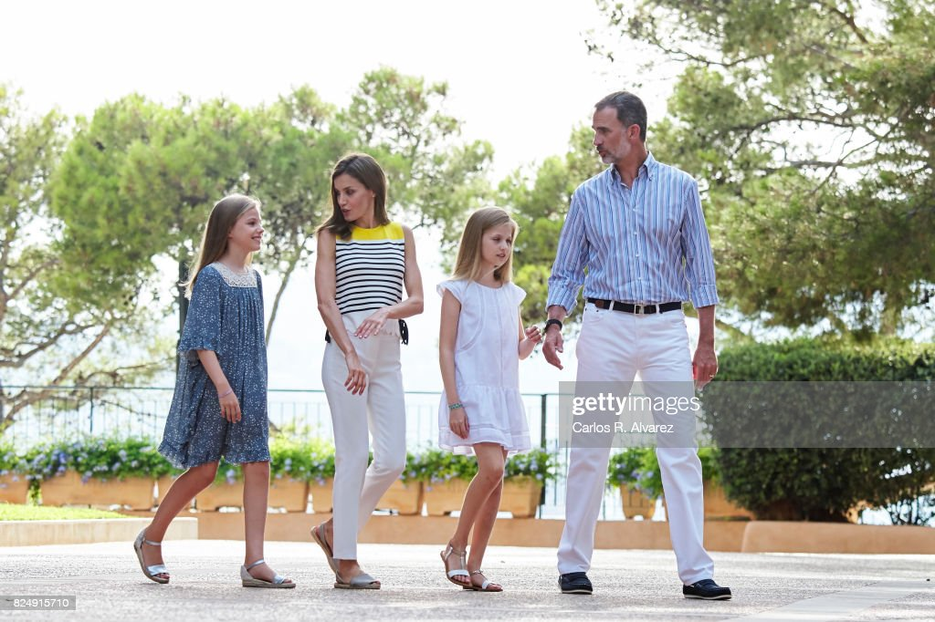 King Felipe VI of Spain, Queen Letizia of Spain, Princess Leonor of Spain (R) and Princess Sofia of Spain (L) pose for the photographers during the summer photocall at the Marivent Palace on July 31, 2017 in Palma de Mallorca, Spain.