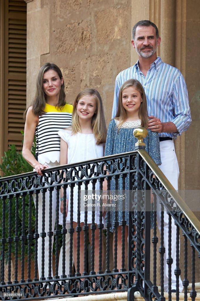 King Felipe VI of Spain, Queen Letizia of Spain, Princess Leonor of Spain (L) and Princess Sofia of Spain (R) poses for the photographers during the summer photocall at the Marivent Palace on July 31, 2017 in Palma de Mallorca, Spain.