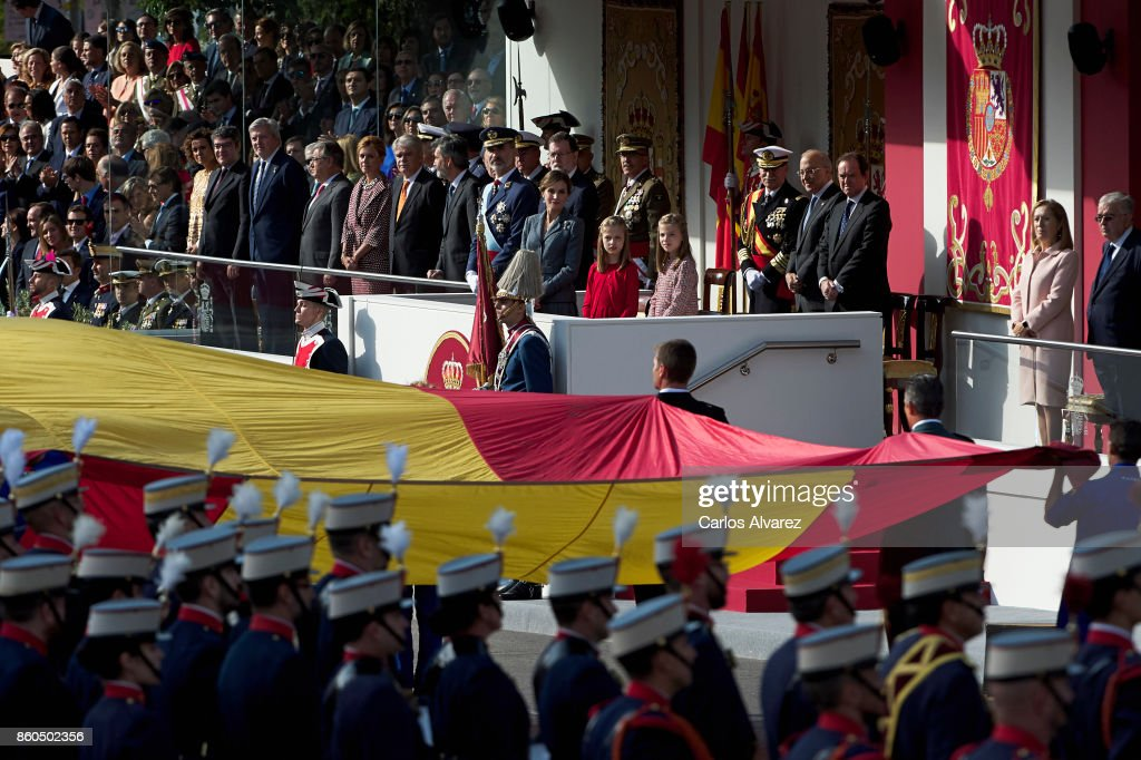 King Felipe VI of Spain, Queen Letizia of Spain, Princess Leonor of Spain and Princess Sofia of Spain attend the National Day Military Parade 2017 on October 12, 2017 in Madrid, Spain.