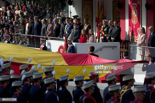King Felipe VI of Spain Queen Letizia of Spain Princess Leonor of Spain and Princess Sofia of Spain attend the National Day Military Parade 2017 on...