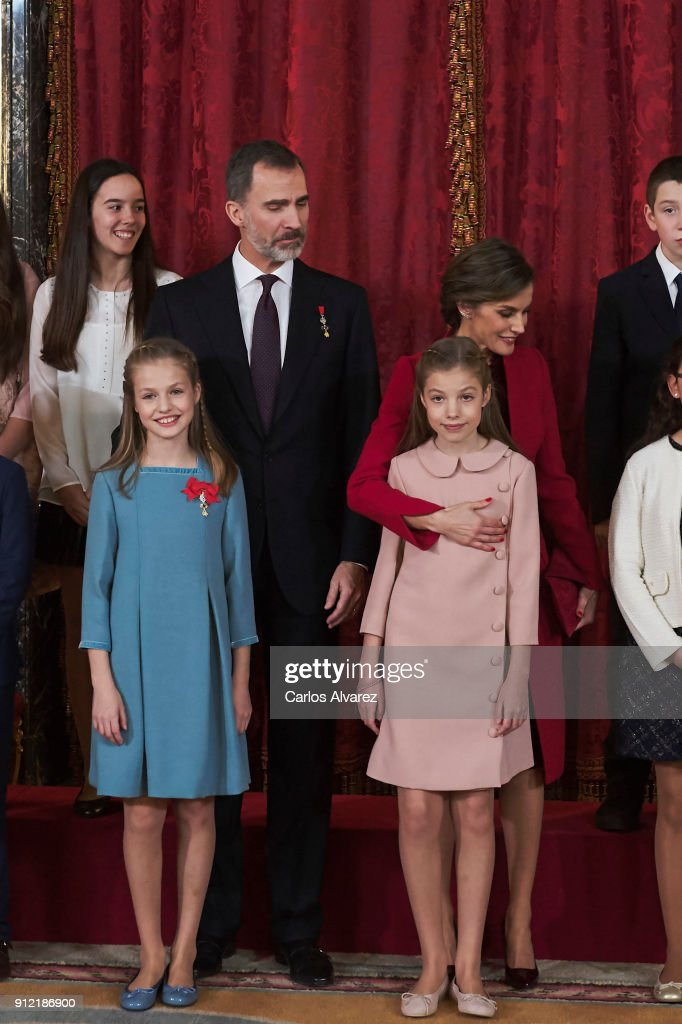 King Felipe VI of Spain, Queen Letizia of Spain, Princess Leonor of Spain (L) and Princess Sofia of Spain (R) attend the Order of Golden Fleece (Toison de Oro), ceremony at the Royal Palace on January 30, 2018 in Madrid, Spain. Today is King's Felipe 50th birthday.