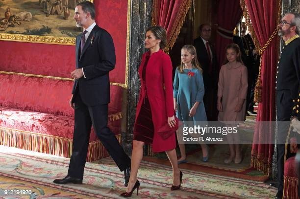 King Felipe VI of Spain Queen Letizia of Spain Princess Leonor of Spain and Princess Sofia of Spain attend the Order of Golden Fleece ceremony at the...
