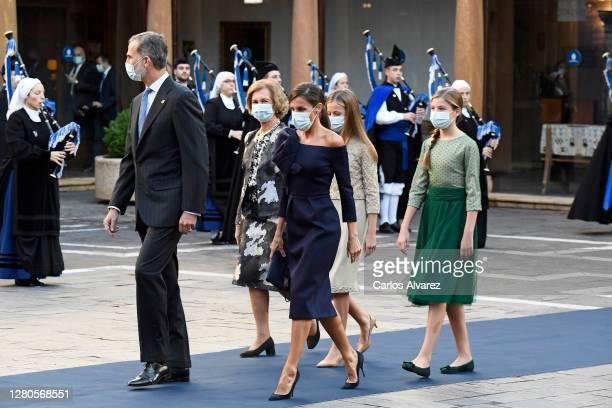 King Felipe VI of Spain, Queen Letizia of Spain, Queen Sofia, Leonor Princess of Asturias and Infanta Sofía of Spain attend the Princesa de Asturias...