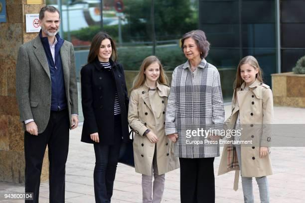 King Felipe VI of Spain Queen Letizia of Spain Queen Sofia Princess Leonor and Princess Sofia visit King Juan Carlos at La Moraleja Hospitalon April...