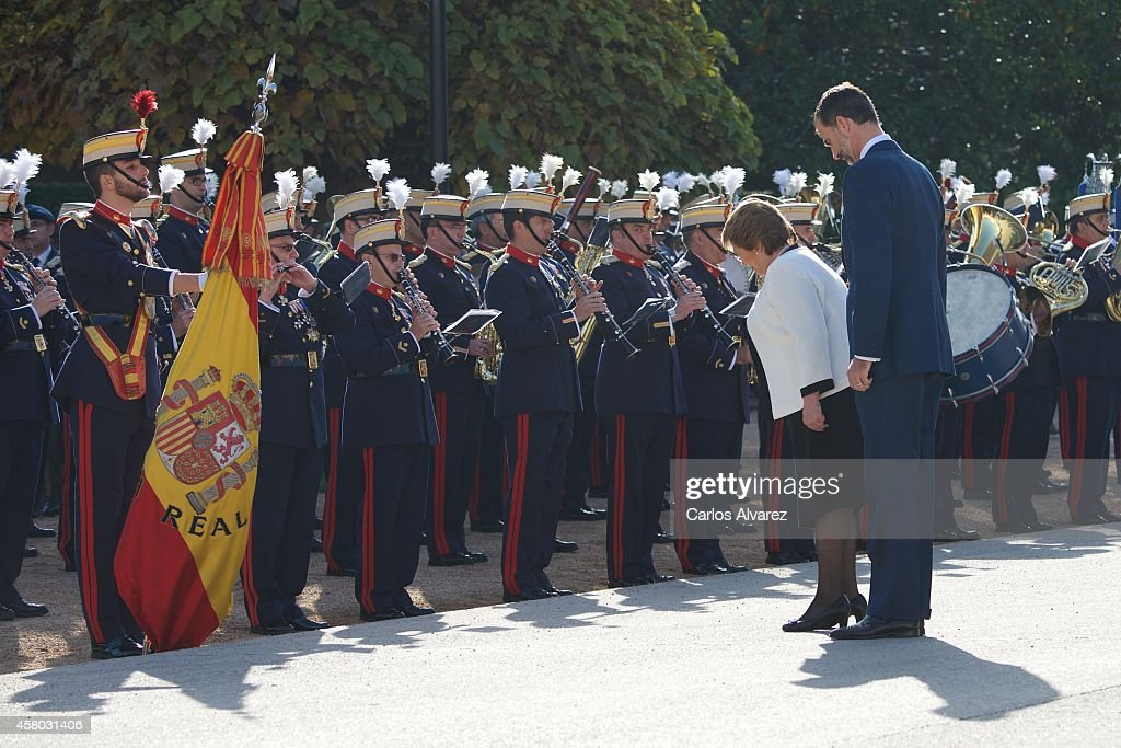 Spanish Royals Recive President of Chile Michelle Bachelet : News Photo