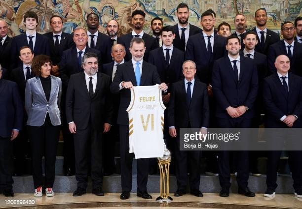 King Felipe VI of Spain receive Real Madrid Basketball Team following their victory at Basketball King's Cup 2020 at Zarzuela Palace on February 17,...