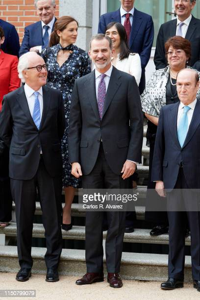 """King Felipe VI of Spain receive speakers of """"Nobel Prize Dialogue Madrid 2019: The Future of Ageing"""" at Zarzuela Palace on May 21, 2019 in Madrid,..."""
