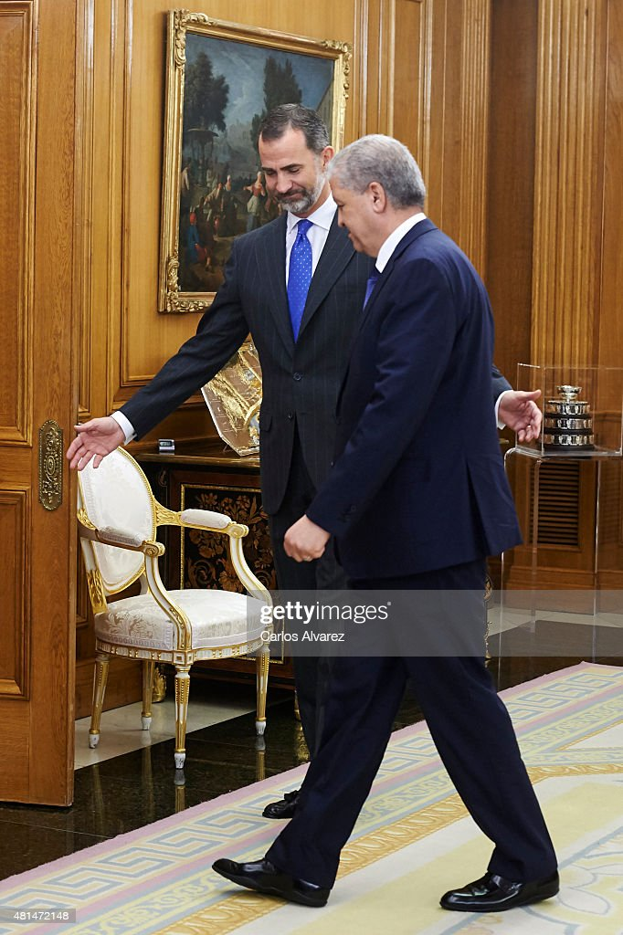 King Felipe VI of Spain (L) receives Algerian Prime Minister Abdelmalek Sellal (R) at the Zarzuela Palace on July 21, 2015 in Madrid, Spain.