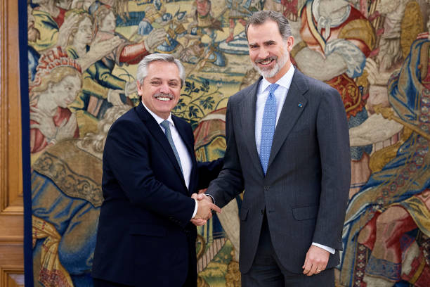 ESP: King Felipe Of Spain Meets president of Argentina At Zarzuela Palace