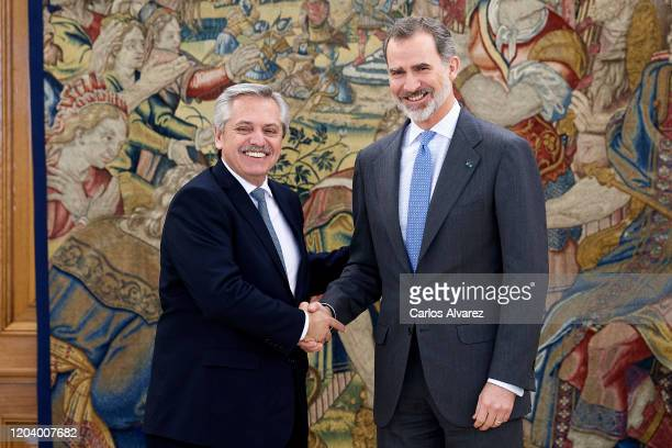 King Felipe VI of Spain receives Argentine president Alberto Fernandez at Zarzuela Palace on February 04 2020 in Madrid Spain