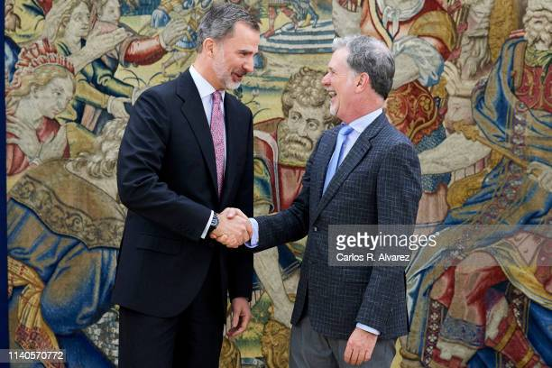 King Felipe VI of Spain receives CEO of Netflix Mr Reed Hastings at the Zarzuela Palace on April 05 2019 in Madrid Spain