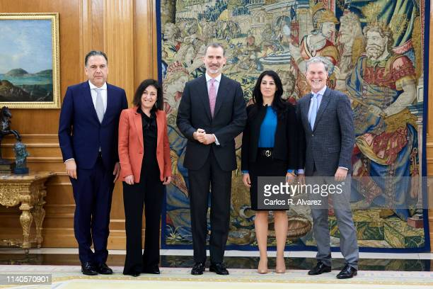 King Felipe VI of Spain receives CEO of Netflix Mr Reed Hastings Netlix's Vice President of Original Content Francisco Javier Ramos Quinones Netlix's...