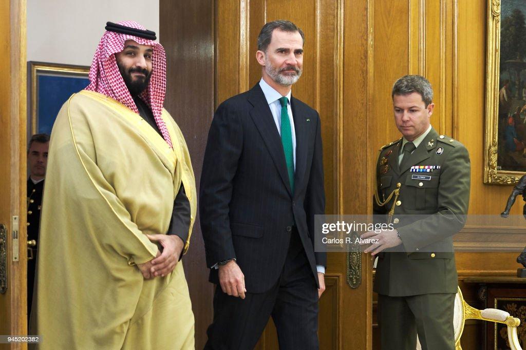 King Felipe VI of Spain (R) receives Crown Prince Mohammad bin Salman bin Abdulaziz Al Saud of Saudi Arabia (L) at Zarzuela Palace on April 12, 2018 in Madrid, Spain.