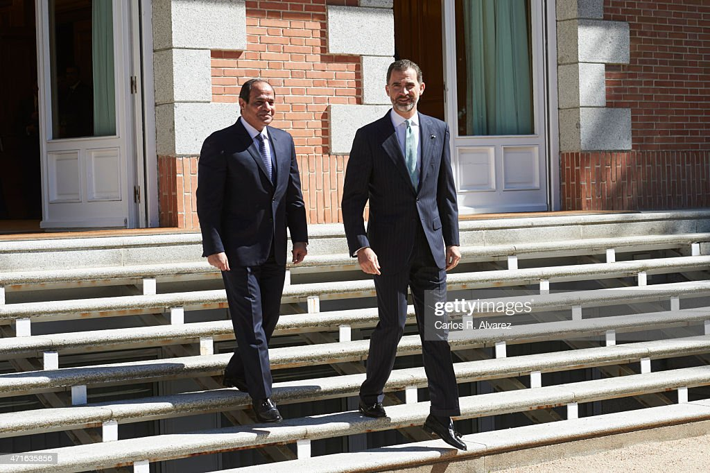 King Felipe VI of Spain Meets President of Egypt at Zarzuela Palace
