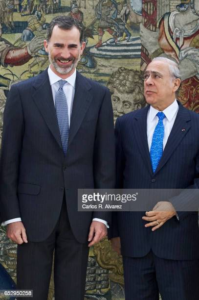 King Felipe VI of Spain receives Jose Angel Gurria SecretaryGeneral of the Organization for Economic Cooperation and Development at the Zarzuela...