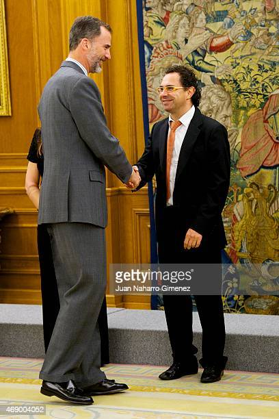 King Felipe VI of Spain receives Jose Luis Izquierdo aka Mago More at Zarzuela Palace on April 9 2015 in Madrid Spain