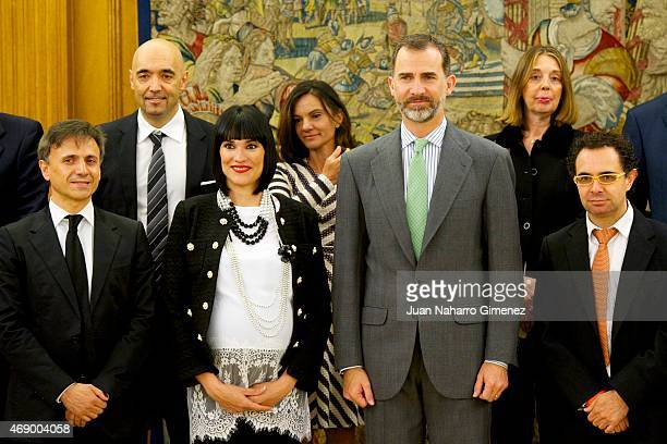 King Felipe VI of Spain receives Jose Mota Irene Villa and Jose Luis Izquierdo aka Mago More at Zarzuela Palace on April 9 2015 in Madrid Spain