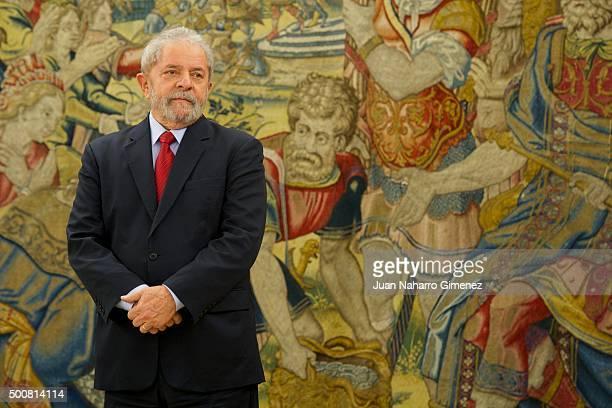 King Felipe VI of Spain receives Lula Da Silva at Zarzuela Palace on December 10 2015 in Madrid Spain