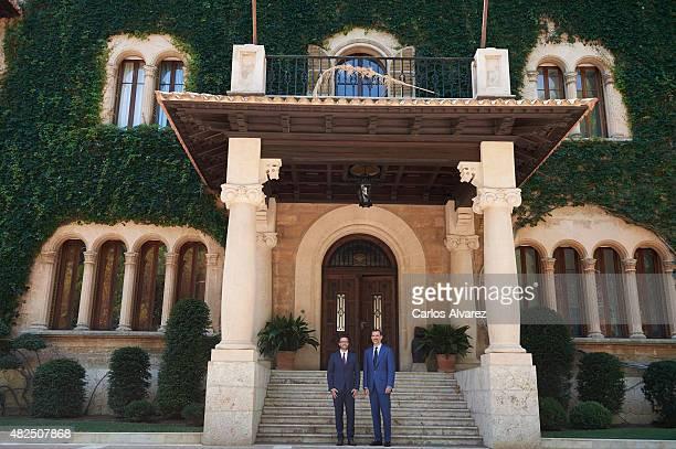 King Felipe VI of Spain receives Major of Palma de Mallorca Jose Francisco Hila Vargas at the Marivent Palace on July 31, 2015 in Palma de Mallorca,...