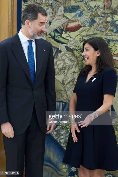 King Felipe VI of Spain receives Mayor of Paris Anne Hidalgo at the Zarzuela Palace on April 19, 2017 in Madrid, Spain.