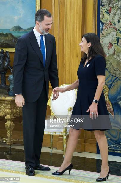 King Felipe VI of Spain receives Mayor of Paris Anne Hidalgo at the Zarzuela Palace on April 19 2017 in Madrid Spain