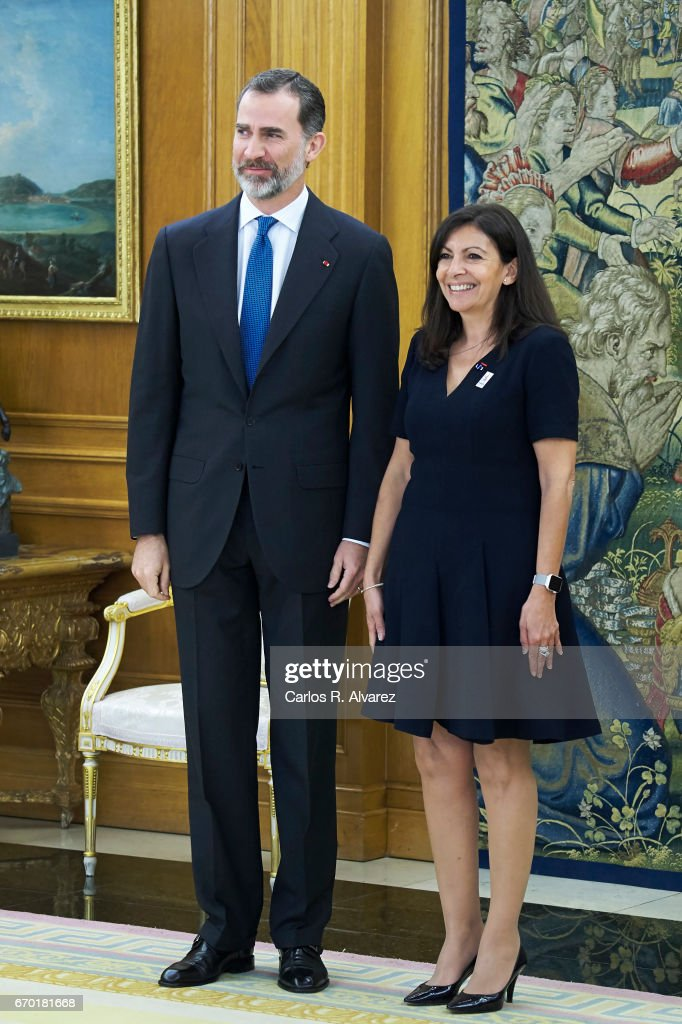 King Felipe VI of Spain receives Mayor of Paris Anne Hidalgo at the Zarzuela Palace on April 19, 2017 in Madrid, Spain.