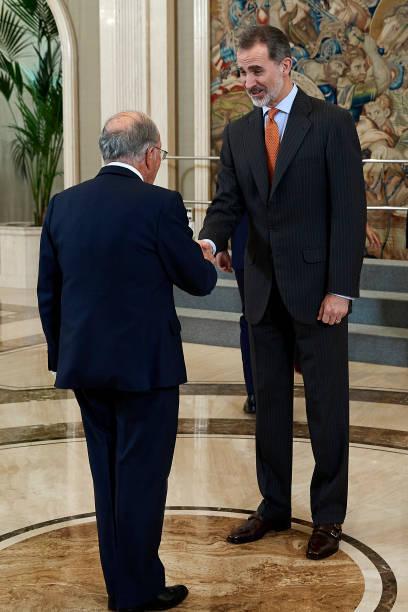 King Felipe VI of Spain receives members of 'Consejo de la Diputacion de la Grandeza de Espana y Titulos del Reino' at Zarzuela Palace on February 13...