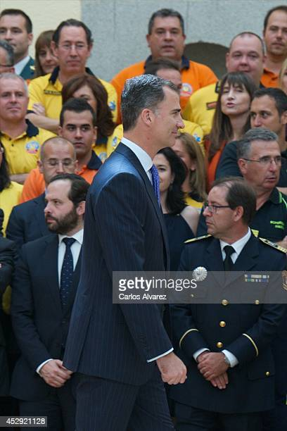 King Felipe VI of Spain receives members of Security Forces and Emergency Services that worked during the coronation of King Felipe VI at the El...
