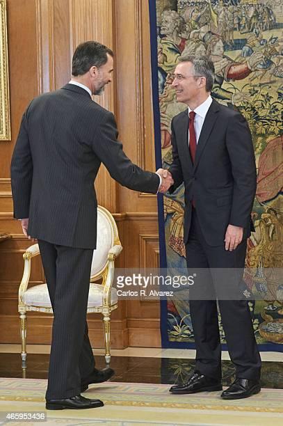 King Felipe VI of Spain receives NATO Secretary General Jens Stoltenberg at the Zarzuela Palace on March 12 2015 in Madrid Spain