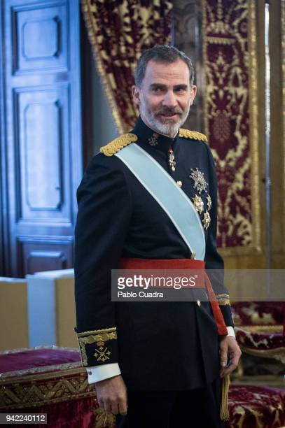 King Felipe VI of Spain receives new ambassadors at the Royal Palace on April 5 2018 in Madrid Spain